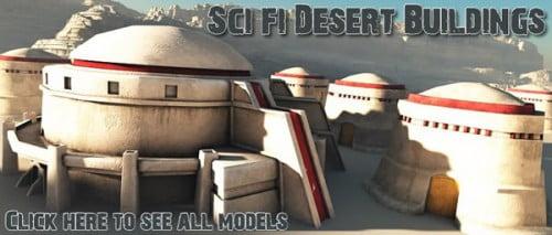 Sci-Fi Desert Buildings model pack