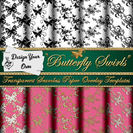 Design Your Own Transparent Butterfly Swirls Paper Overlay Templates