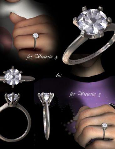 Diamond Finger Ring (Tiffany Setting) 01 for Poser