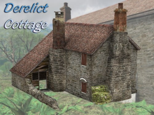 Derelict Stone Cottage for Poser 4+