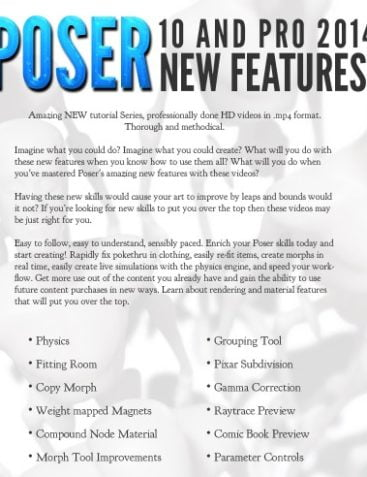 Poser 10 and Poser Pro 2014 New Features