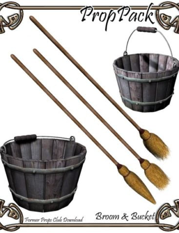 Props Pack - Broom and Bucket