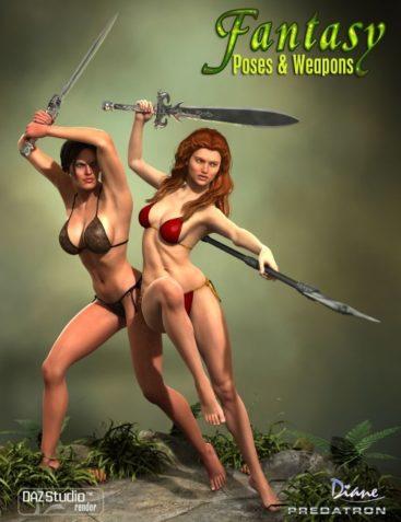 Heroine Fantasy Poses & Weapons for Genesis 2 Female