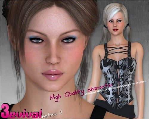 Victoria 3evival - Character and Clothing for V3 - clothing, character, daz-poser-carrara