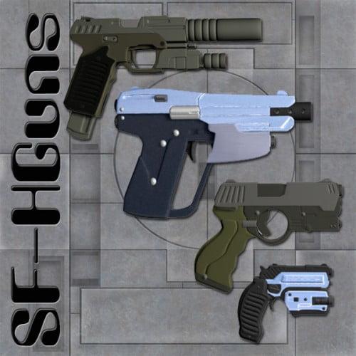 Sci-Fi Handgun Set (for Poser) - scenes-props, sci-fi, daz-poser-carrara