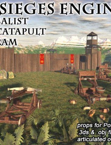 3 siege engines - catapult, balist, ram