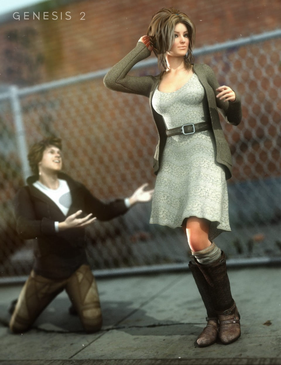 Hipster Librarian Outfit and Boots for Genesis 2 Female(s)