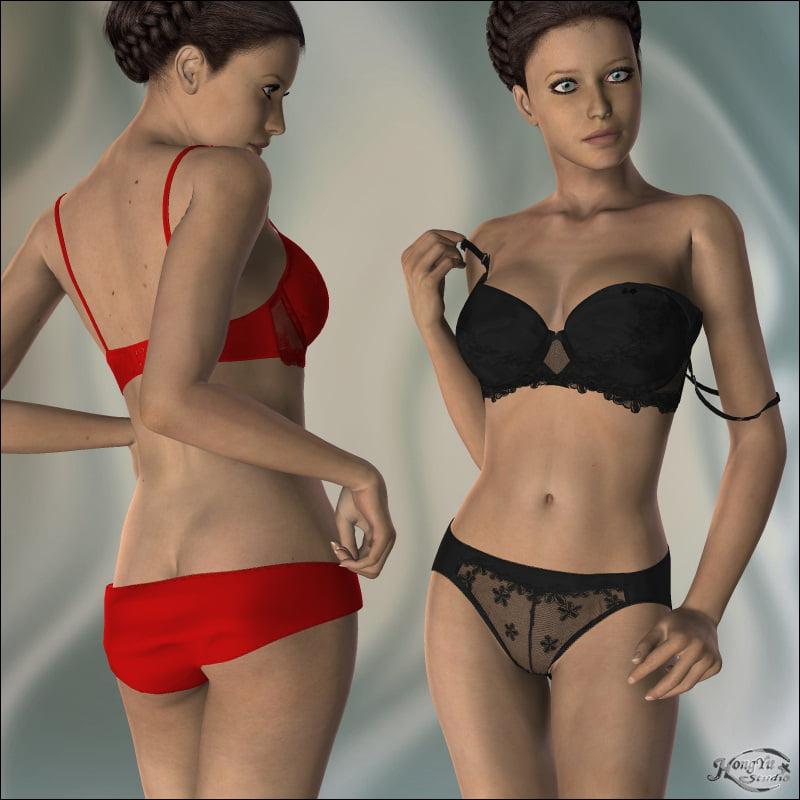 Dreamlace II for V4 - clothing, daz-poser-carrara