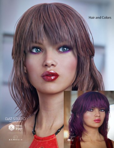 Paisley Hair for Genesis 3 Female(s)&Colors for Paisley Hair