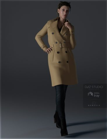 Trench Coat Outfit for Genesis 3 Female(s)