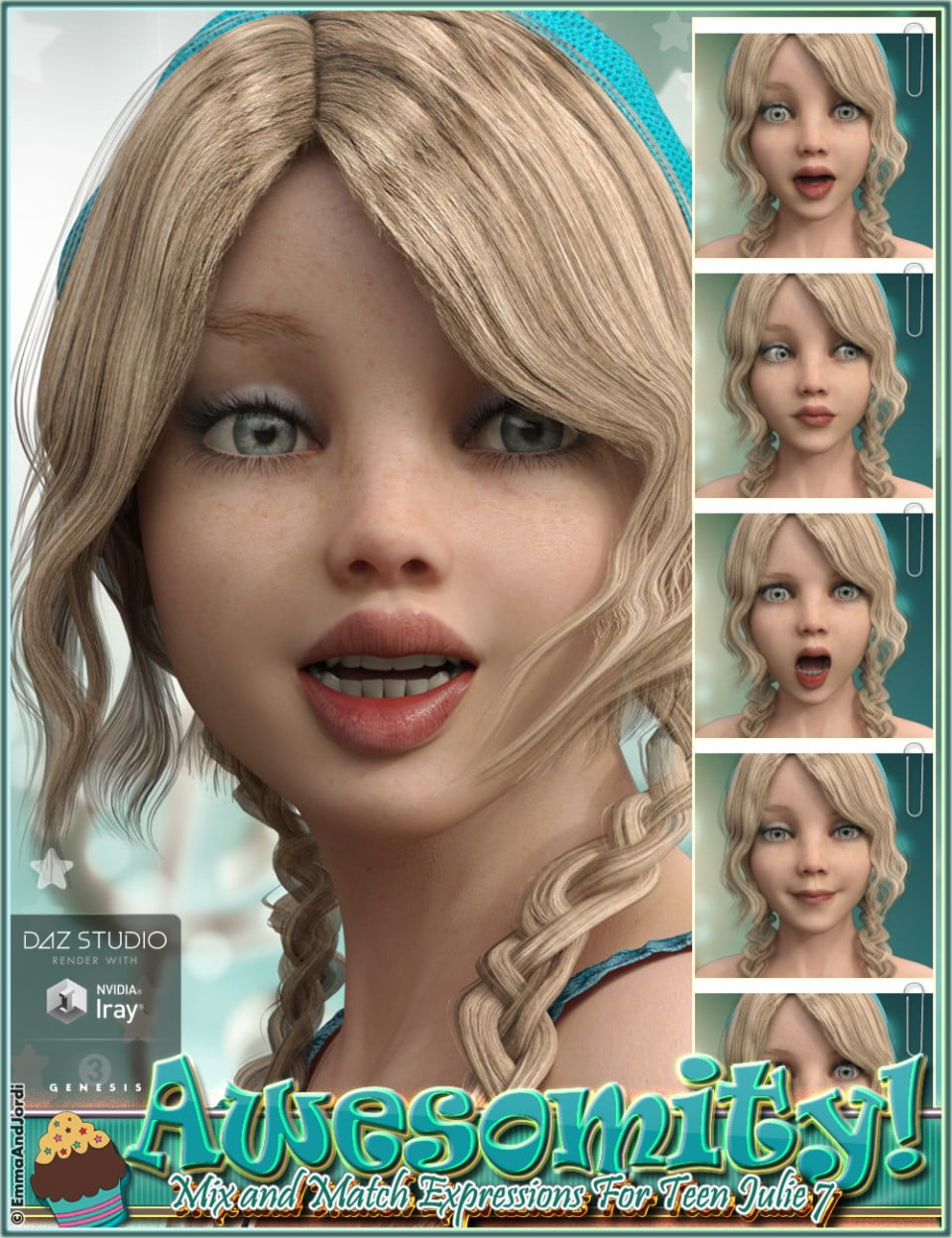 Awesomity Mix and Match Expressions for Tween Julie 7 and Genesis 3 Female(s)