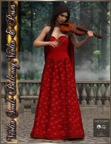 Violin Soul: Balcony, Violin And Poses for Genesis 3 Female(s)