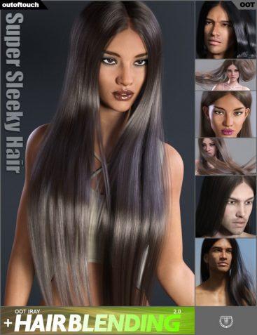 Super Sleeky Hair for Genesis 3 Female(s) and Genesis 3 Male(s) and OOT Hairblending 2.0
