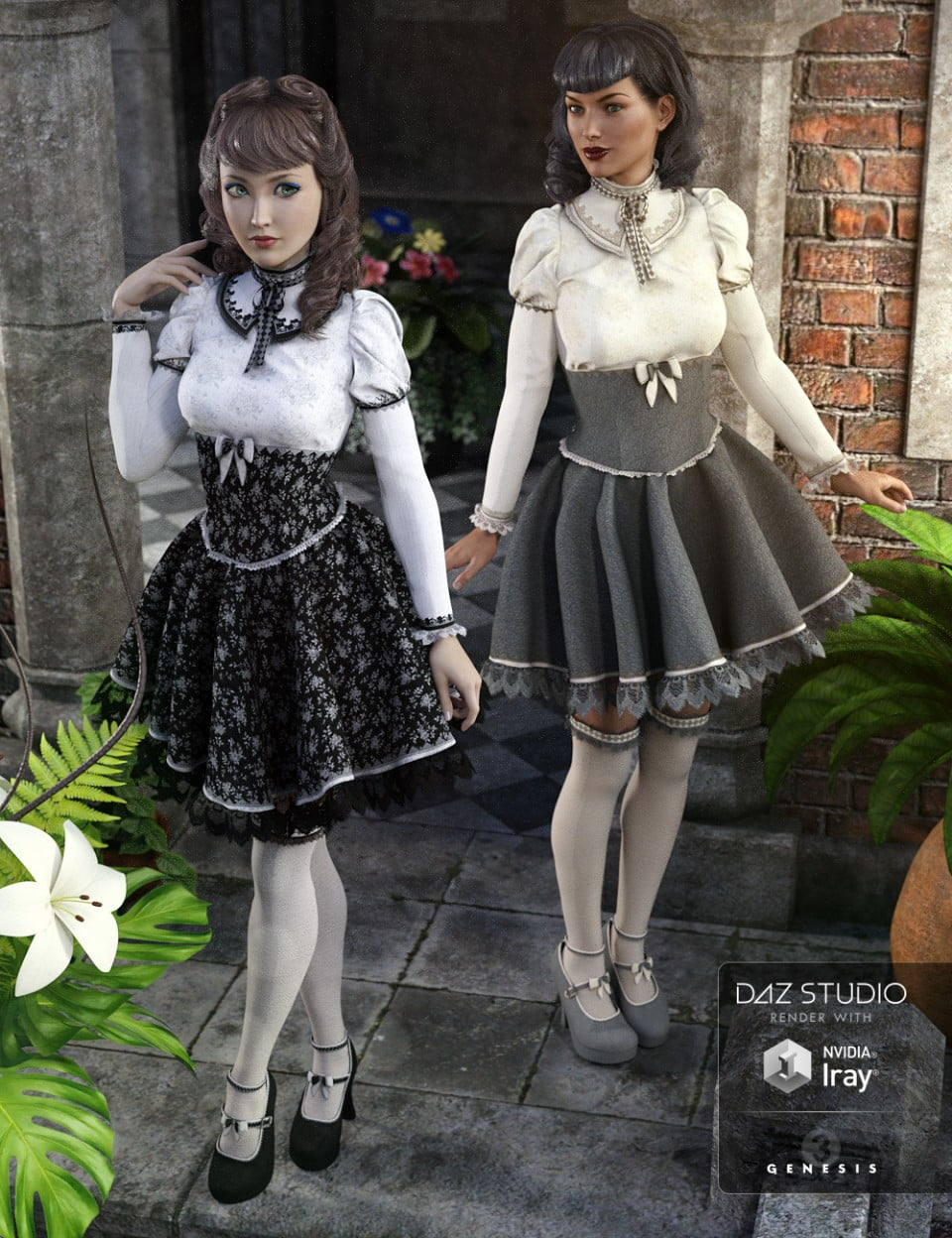 Gothic Lolita Outfit Textures