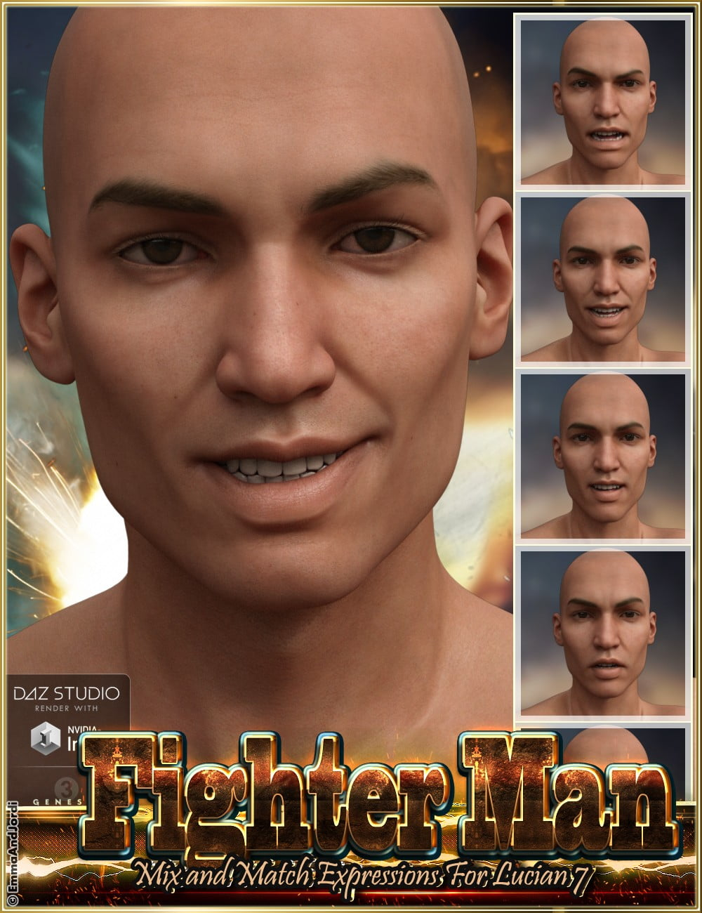 Fighter Man Mix and Match Expressions for Lucian 7 and Genesis 3 Male(s)