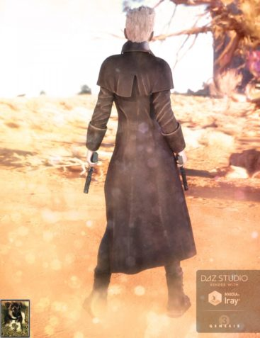 Long Leather Coat and Hat for Genesis 3 Female(s)