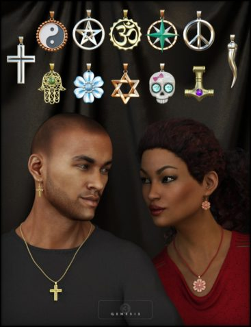 Necklace & Earring Collection for Genesis 3 Male(s) and Female(s)