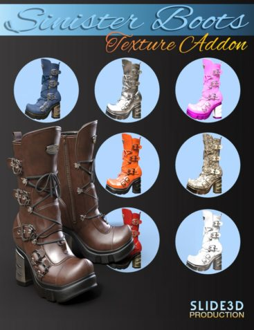 Slide3D Sinister Boots for Genesis 3 Female(s) Texture Addons