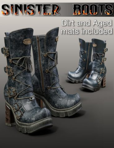 Slide3D Sinister Boots for Genesis 3 Female(s)