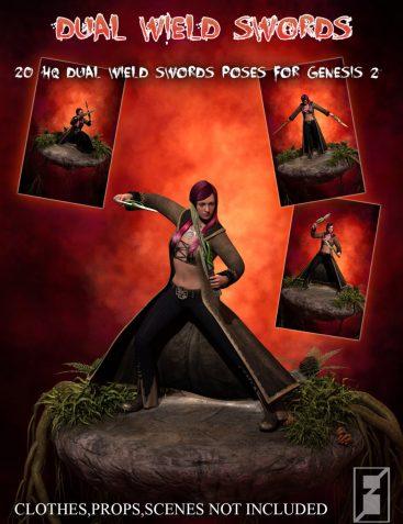Dual Wield Swords - Poses For Genesis 2