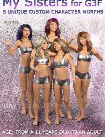 MY SISTERS for G3F - Full Custom Body Morphs