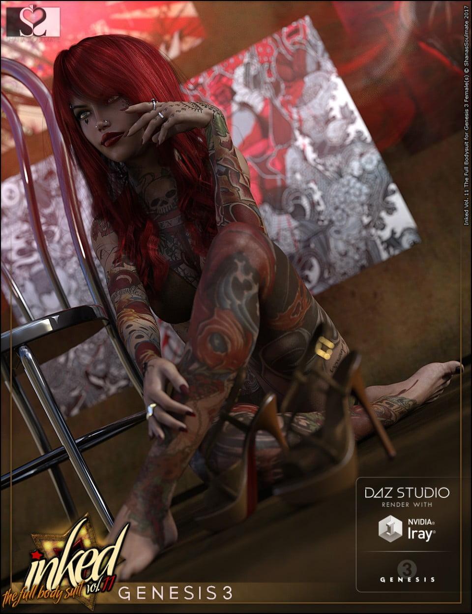 Inked Vol.11: The Full Bodysuit for Genesis 3 Female(s)