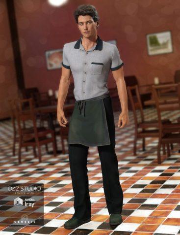 Restaurant Waiter Uniform for Genesis 3 Male(s)