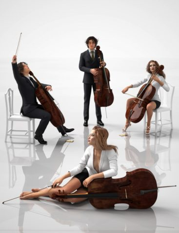Professional Cellist Poses for Genesis 3 Female and Male