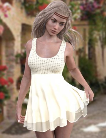 X-Fashion Crochet Dress for Genesis 3 Female(s)