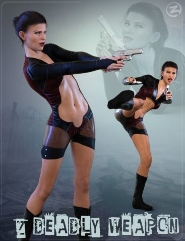 Z Deadly Weapon - Gun and Poses for Genesis 8 Female and Victoria 8