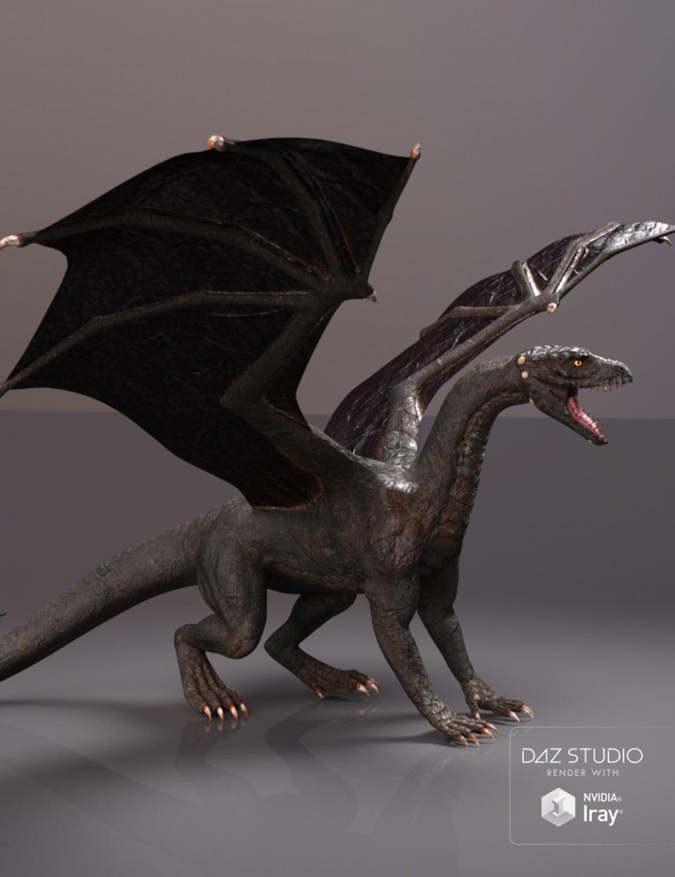 PBReal Iray Black Dragon for Daz Dragon 3
