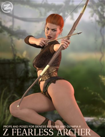 Z Fearless Archer - Bow and Arrow Prop and Poses for Genesis 8 Female and Olympia 8