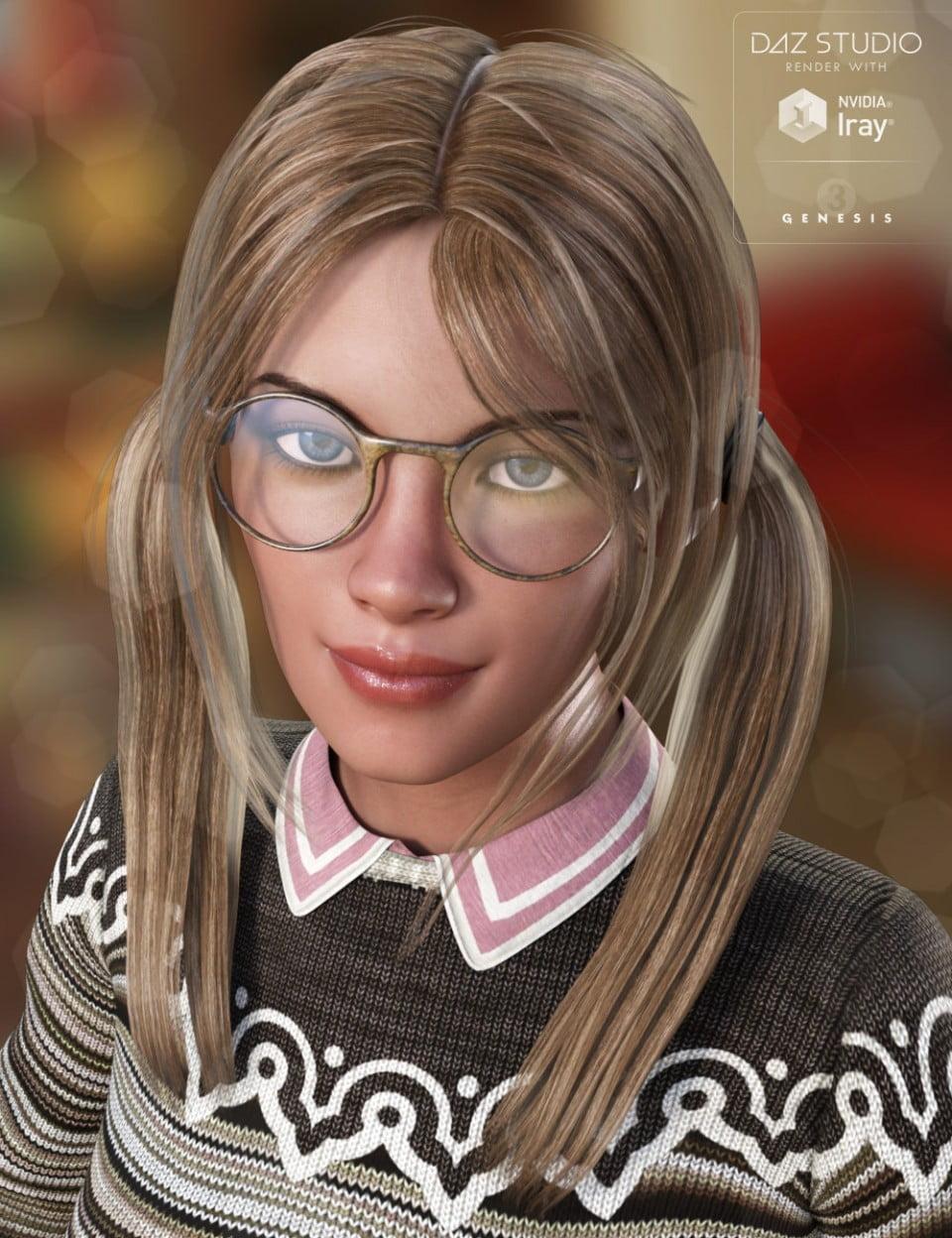 Nerdy Girl Hair for Genesis 3 Female(s)