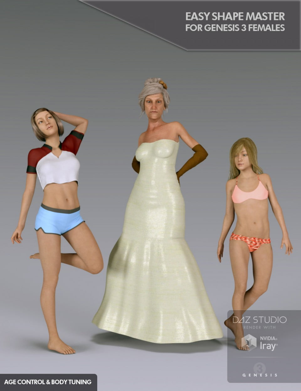 Easy Shape Master Age Control and Body Tuning for Genesis 3 Female