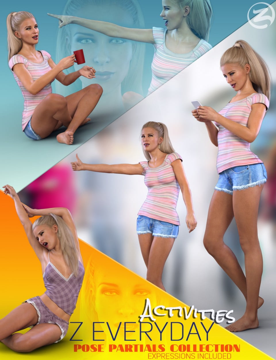 Z Everyday Activities – Poses and Expressions for Genesis 8 Female and Victoria 8