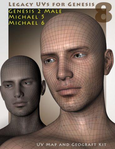Legacy UVs for Genesis 8: Genesis 2 Male, Michael 5 and Michael 6
