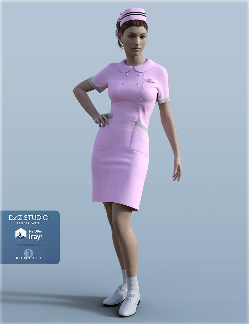 H&C Nurse Uniform for Genesis 3 Female(s) - clothing, daz-poser-carrara