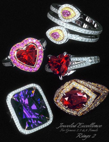 Jeweled Excellence Rings 2 for Genesis 2, 3 and 8 Female(s)