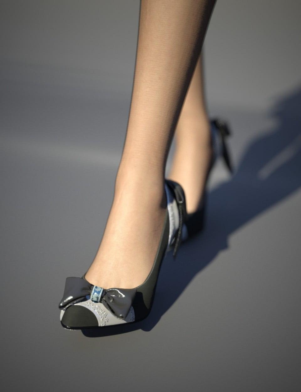 Ribbon Heel & Hosiery Set for Genesis 8 Female(s)