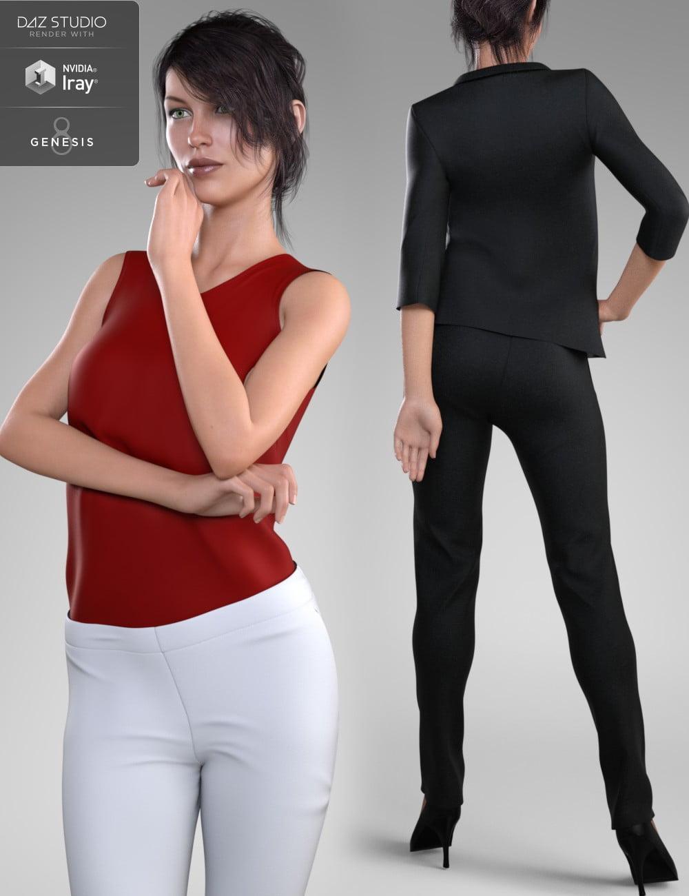 Stylish Workwear for Genesis 8 Female(s) - clothing, daz-poser-carrara