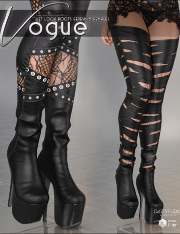 Vogue for Wet Look Boots Genesis 8 Females