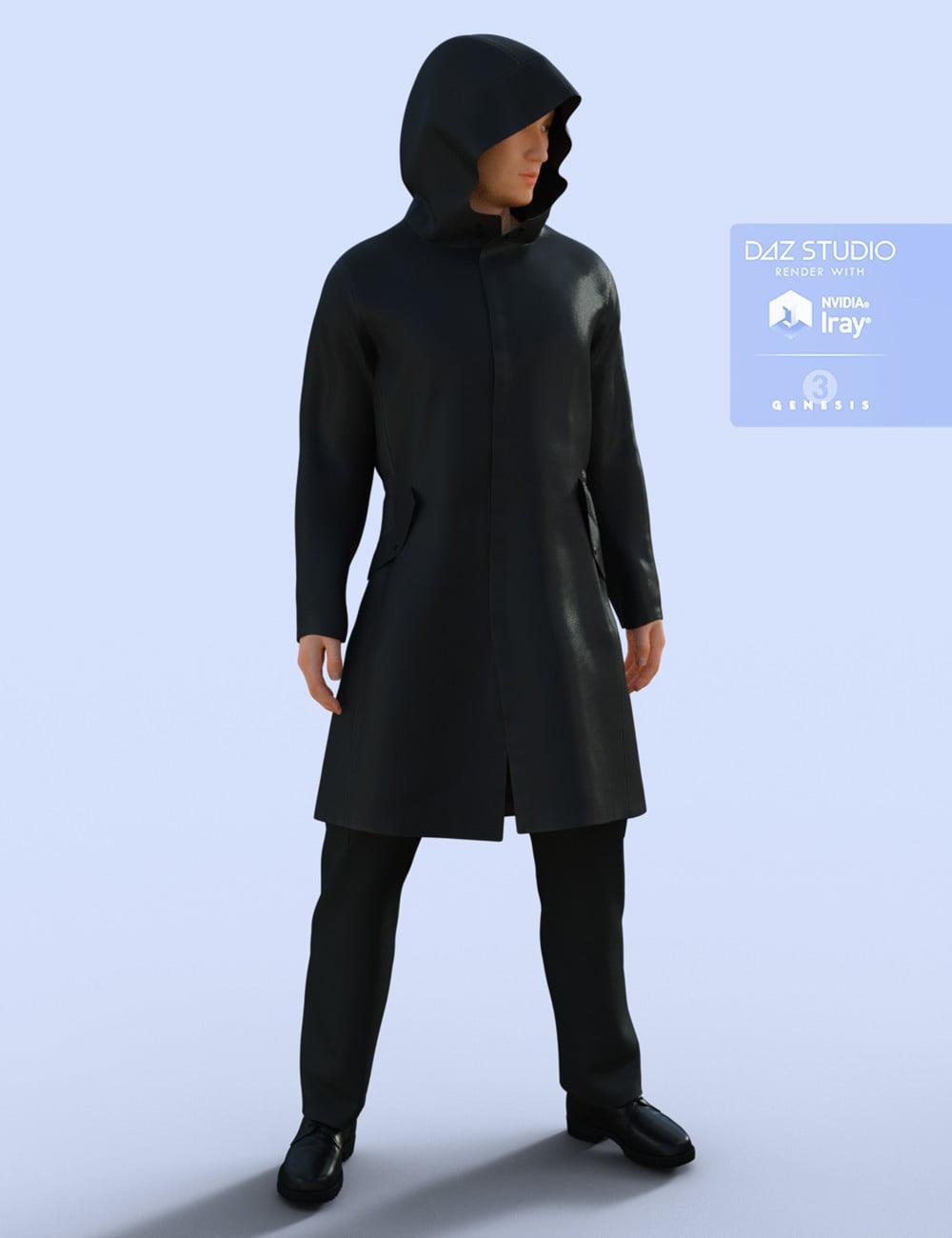 H&C Raincoat Outfit for Genesis 3 Male(s) - character, daz-poser-carrara
