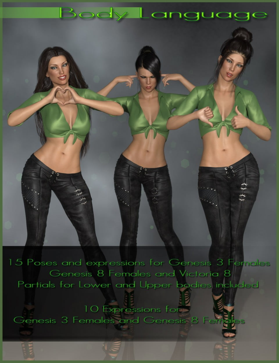 Body Language – Poses and Expressions for Genesis 3 and 8 Female(s)