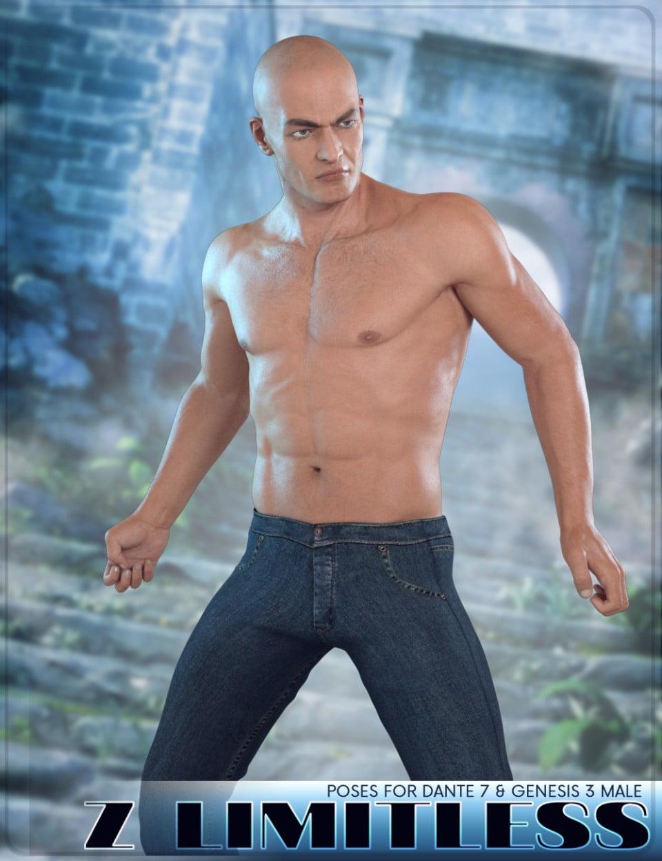 Z Limitless - Poses for Dante 7 and Genesis 3 Male - poses, daz-poser-carrara