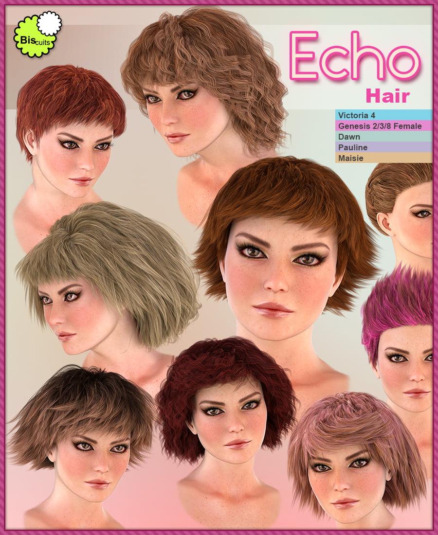 Biscuits Echo Hair - hair, daz-poser-carrara