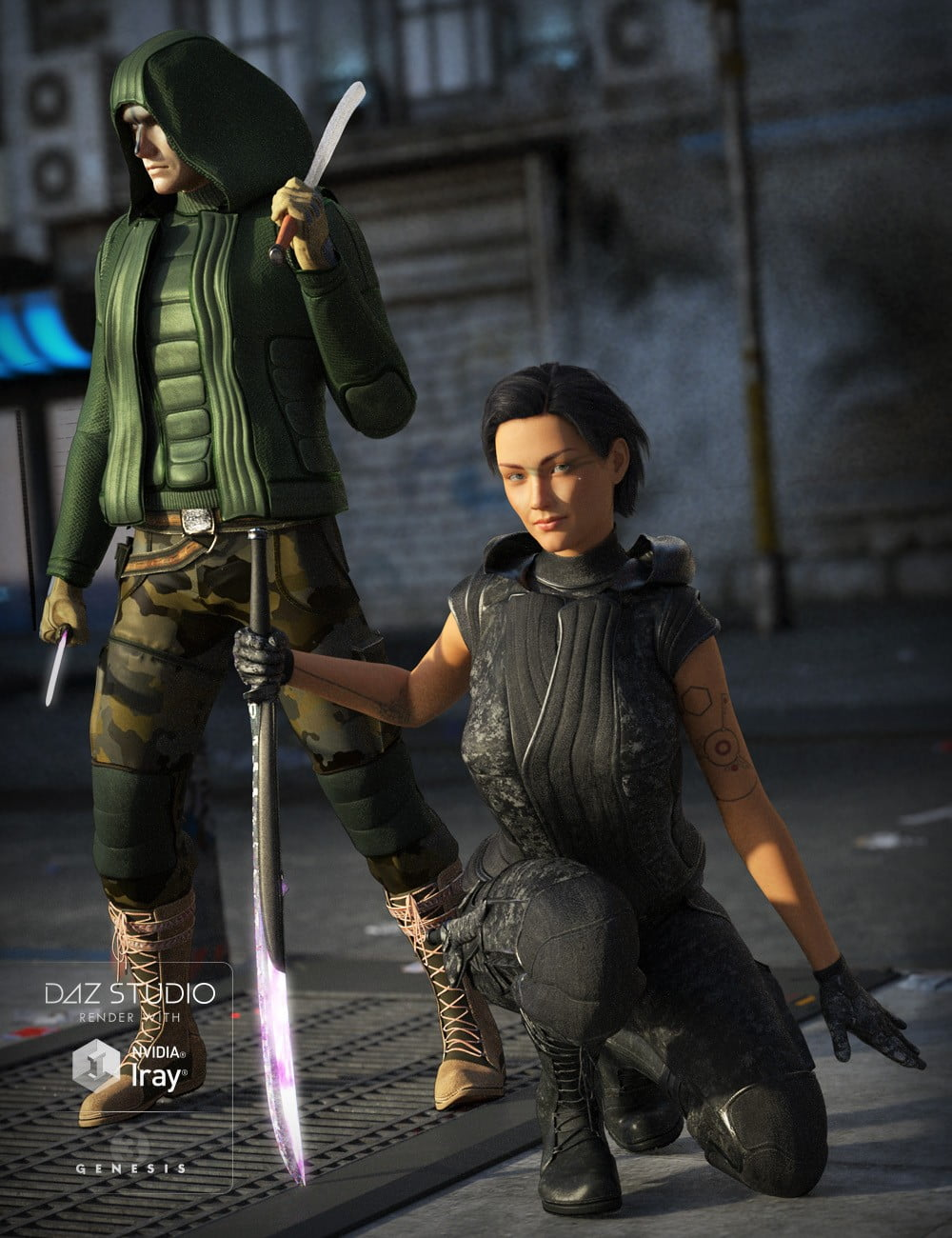Obsidian Warrior Outfit for Genesis 3 Male(s) and Female(s)