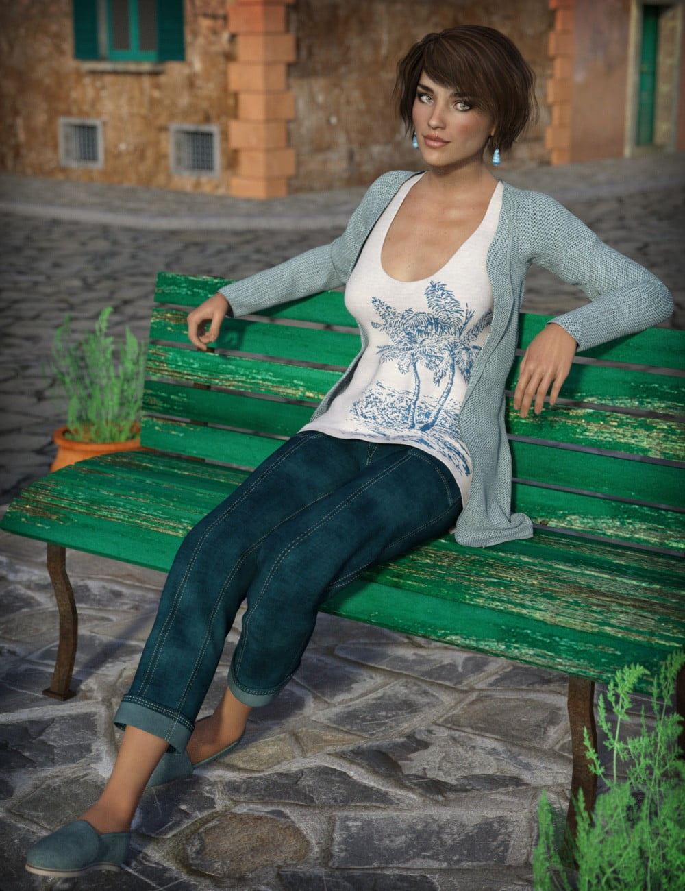Casual Tourist for Genesis 3 Female(s) - clothing, daz-poser-carrara