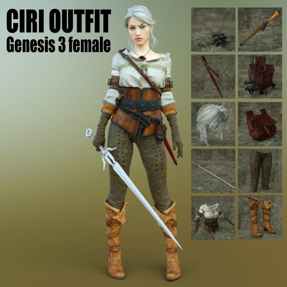Ciri Outfit For G3F - clothing, daz-poser-carrara