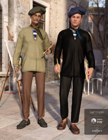 dForce French Painter Outfit Textures