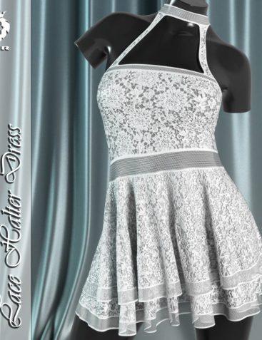 JMR dForce Lace Halter Dress for G3F and G8F